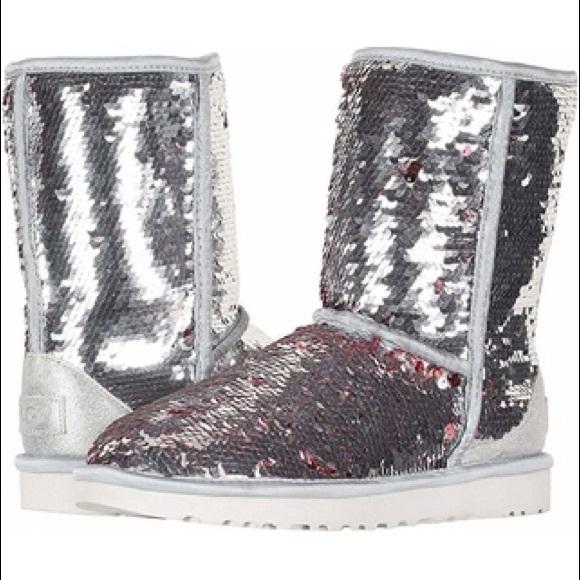 Nib Sz 9 Ugg Silver Short Sequin Boots